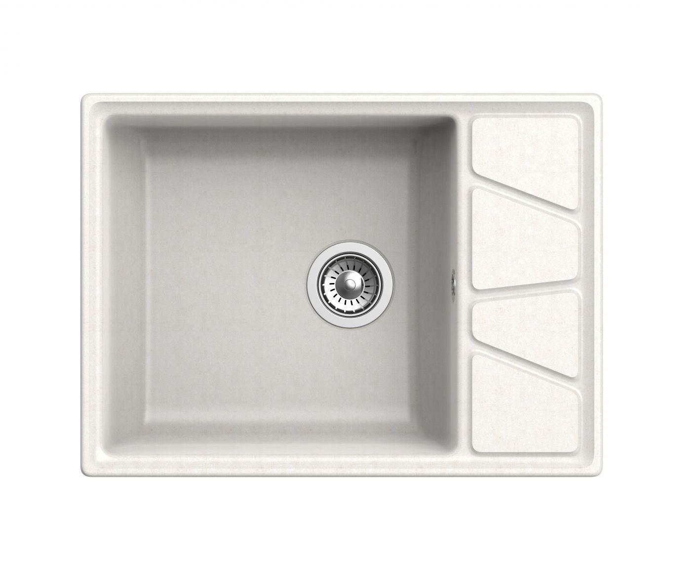 Мраморная мойка для кухни GranFest Vertex GF-V680L Белый
