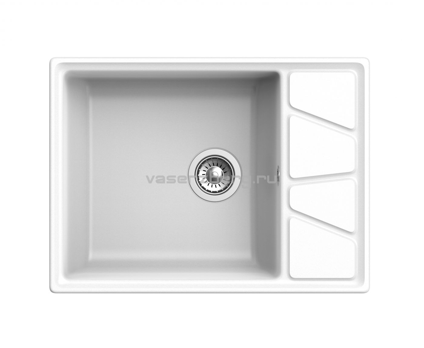 Мраморная мойка для кухни GranFest Vertex GF-V680L Иней