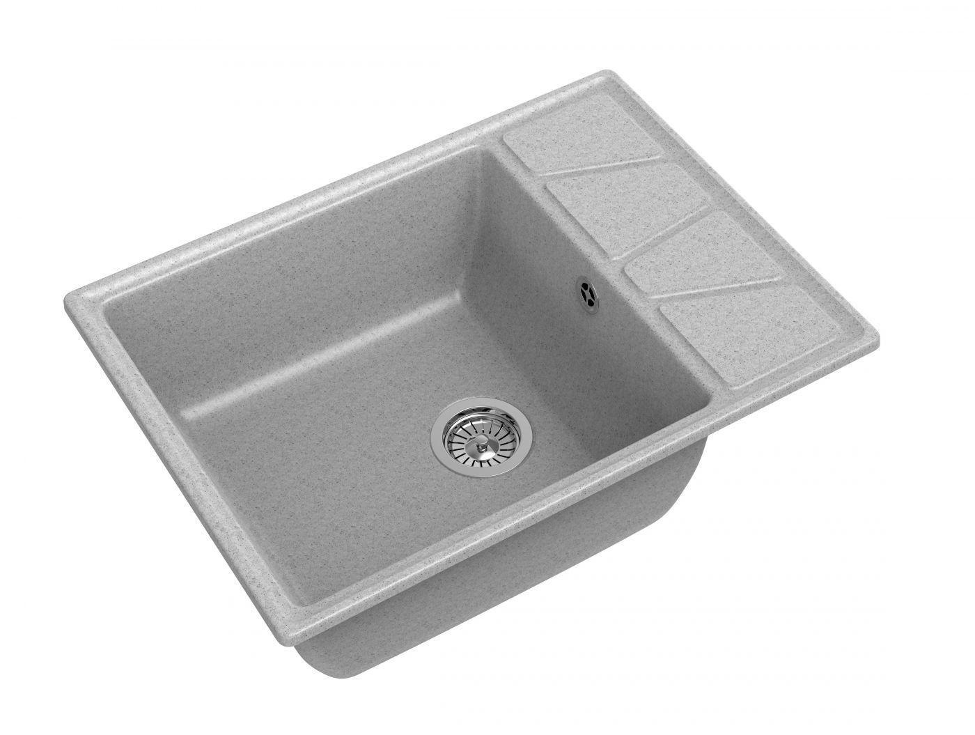 Мраморная мойка для кухни GranFest Vertex GF-V680L Серый