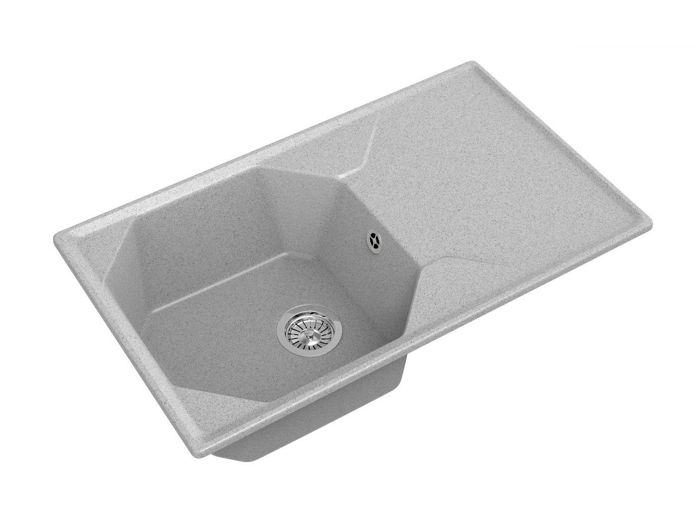 Мраморная мойка для кухни GranFest Unique GF-U840L Серый