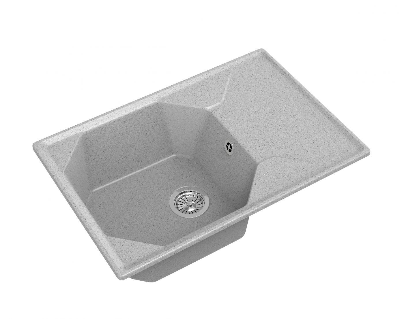 Мраморная мойка для кухни GranFest Unique GF-U740L Серый