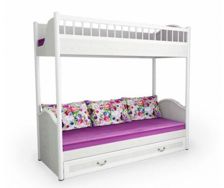 Двухъярусная кровать Классика со сплошным бортом для 3-х детей