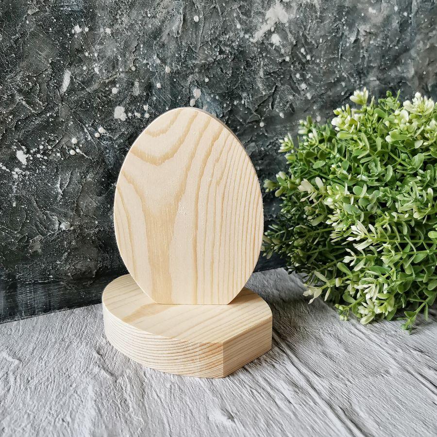 Заготовка Яйцо деревянное плоское, массив сосны, 12*9 см
