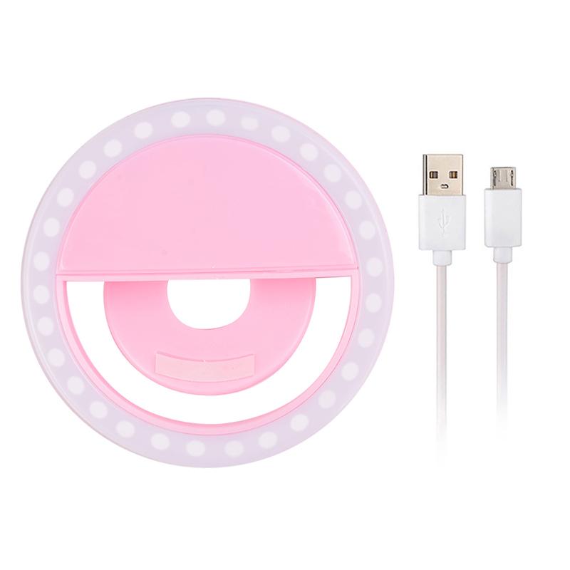 Светодиодное селфи кольцо с usb-зарядкой, Розовый