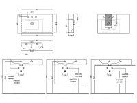 Подвесная/накладная раковина Hatria Bahia_13 BHD800465 с правым крылом 80х46,5 схема 1