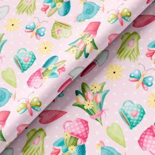 Хлопок Перкаль - Курочки и цветы на розовом 50х37