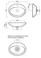 Накладная раковина Hatria Sculture Y0MV01 69х52,5 схема 1