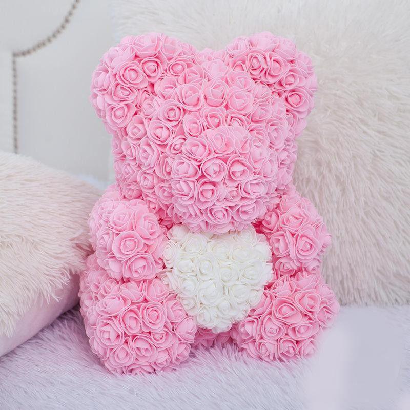 Мишка из роз 40 см (с сердцем)