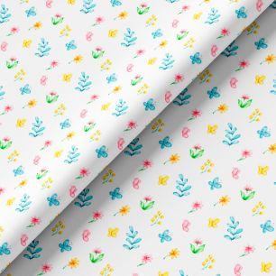 Хлопок Перкаль - Яркие цветочки 50х37