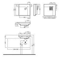 Раковина квадратная Hatria Grandagolo 50 накладная 50х50 схема 2