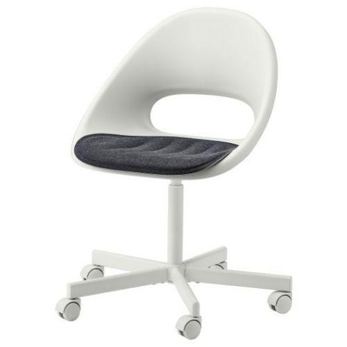 LOBERGET ЛОБЕРГЕТ / BLYSKAR БЛИСКЭР, Рабочее кресло c подушкой, белый/темно-серый - 793.319.07
