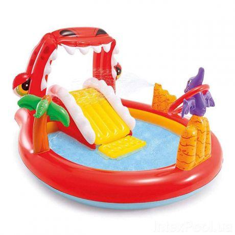 Intex 57163, детский надувной центр с горкой Дино
