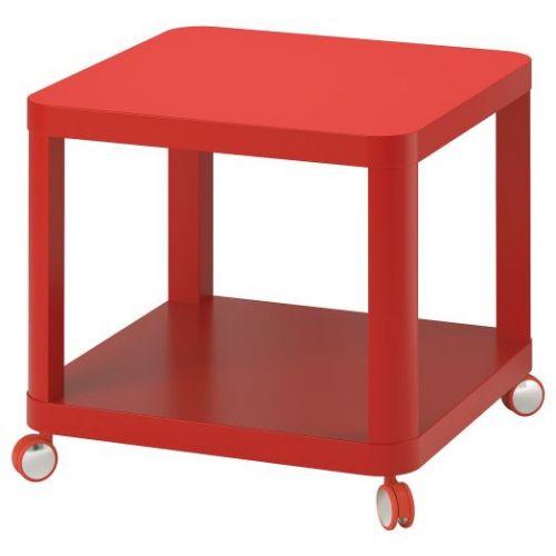 TINGBY ТИНГБИ, Стол приставной на колесиках, красный, 50x50 см - 204.574.42