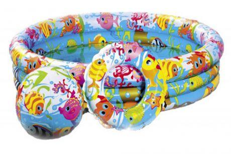 Детский надувной бассейн Intex 59469 «Аквариум» с мячом и кругом, 132 х 28 см