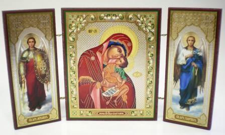 """Складень тройной на дереве - икона Пресвятой Богородицы """"Взыграние"""""""