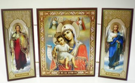 """Складень тройной на дереве - икона Пресвятой Богородицы """"Достойно есть"""""""