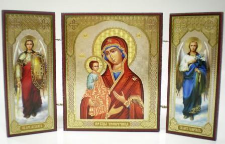 """Складень тройной на дереве - икона Пресвятой Богородицы """"Троеручица"""""""