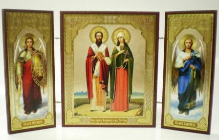 """Складень тройной на дереве - икона """"Святые свщмч. Киприан и мц. Иустина"""""""