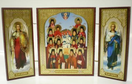 """Складень тройной на дереве - икона """"Собор преподобных старцев Оптинских"""""""