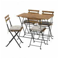 TARNO ТЭРНО, Стол+4 стула, д/сада, черный/светло-коричневая морилка/Куддарна серый - 793.937.16
