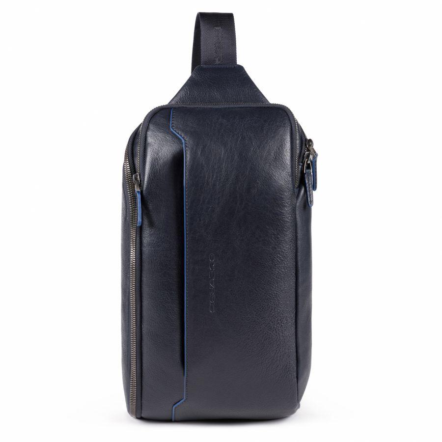 Рюкзак с одним плечевым ремнем и карманом с RFID защитой Piquadro CA5107B2S/BLU мужской кожаный синий