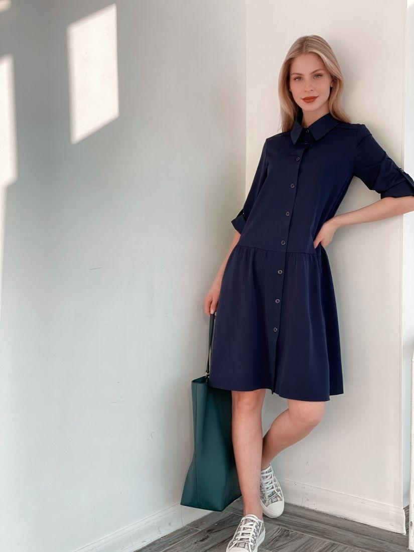 s3855 Платье-рубашка с воланом тёмно-синее