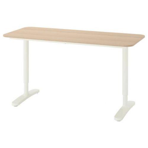 BEKANT БЕКАНТ, Письменный стол, дубовый шпон, беленый/белый, 140x60 см - 292.826.69