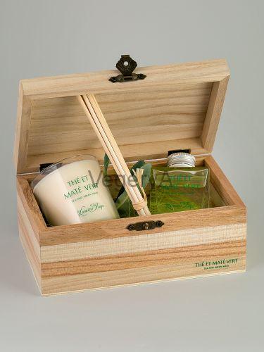 Подарочный набор деревянный сундучок (Зелёный чай Мате) LUMIERES