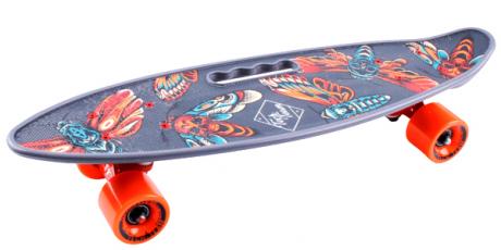 Скейтборд пласт Fishboard 23 print (mini) grey