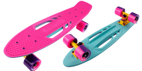 Скейтборд пластиковый Shark 22 pink/sea blue