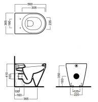 Унитаз напольный пристенный Hatria Daytime Evo YXV701 56х36,5 схема 1
