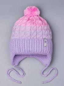 РБ 25314 Шапка вязаная для девочки с бубоном на завязках, двухцветная, нашивка корона, сиреневый