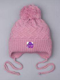 РБ 25384 Шапка вязаная для девочки с бубоном на завязках, нашивка athletic, тускло-розовый