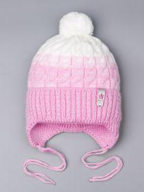 РБ 25313 Шапка вязаная для девочки с бубоном на завязках, двухцветная, нашивка корона, светло-розовый