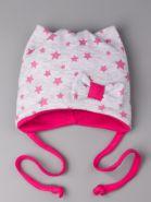 РБ 24654 Шапка трикотажная для девочки с ушками на завязках, сбоку бантик, звездочки, ярко-розовый
