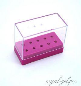 Подставка для фрез 10 отверстий розовая