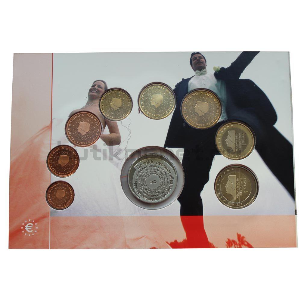Годовой набор монет ЕВРО 2005 Нидерланды Свадьба (8 штук и жетон)