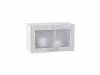 Шкаф верхний Валерия ВГ610 со стеклом (серый металлик дождь)