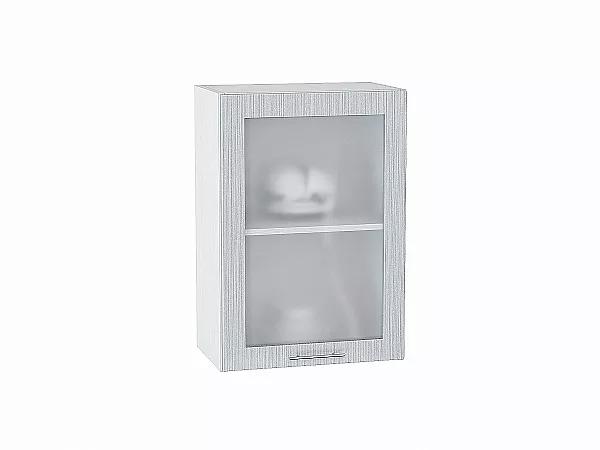 Шкаф верхний Валерия В500 со стеклом (серый металлик дождь)