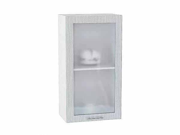 Шкаф верхний Валерия В509 со стеклом (серый металлик дождь)