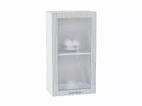 Шкаф верхний с 1-ой дверцей Валерия В409 со стеклом в цвете серый металлик дождь