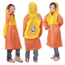 Виниловый плащ-дождевик для детей, Желто-Оранжевый