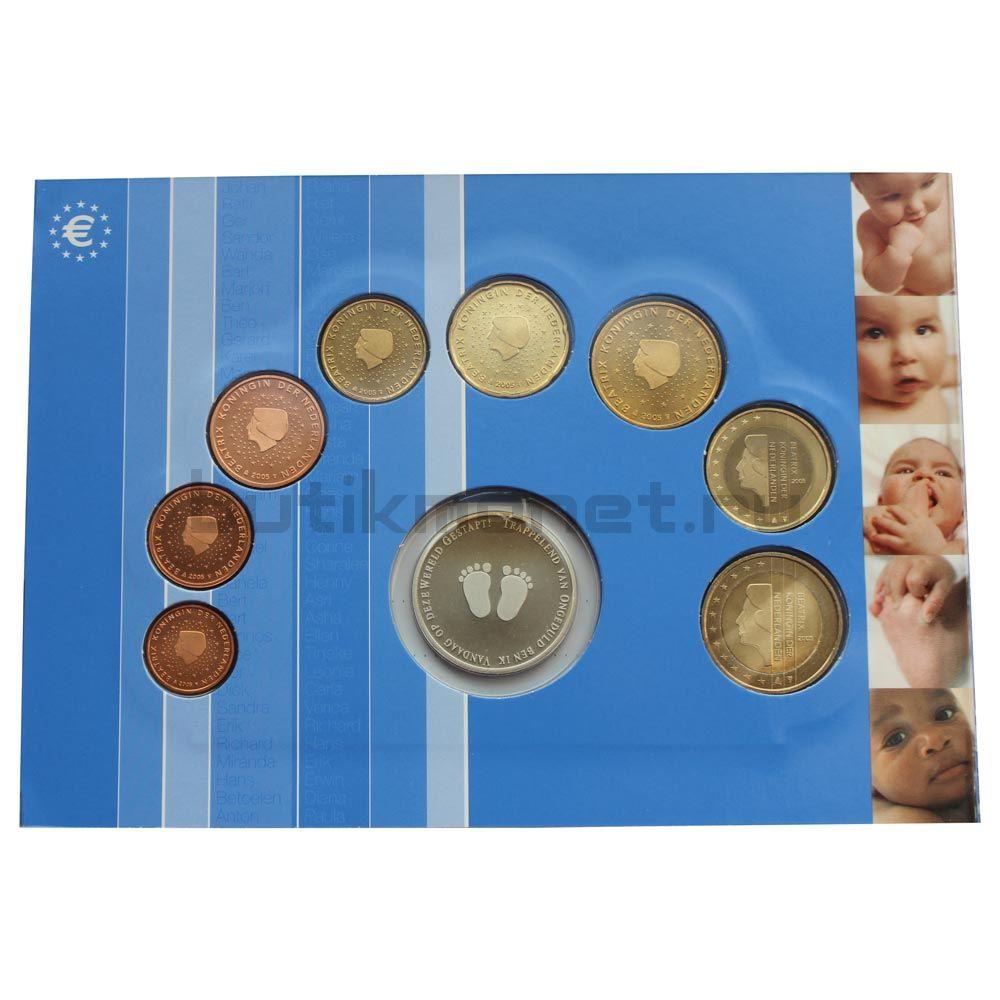 Годовой набор монет ЕВРО 2005 Нидерланды Рождение ребёнка (8 штук и жетон)