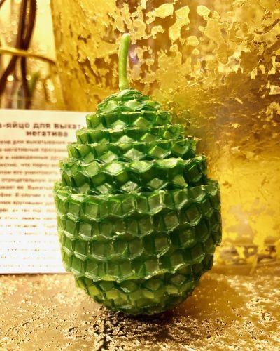 Зеленая Свеча-яйцо для выкатывания и отжига негатива