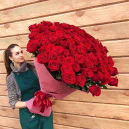 101 красная роза 100см