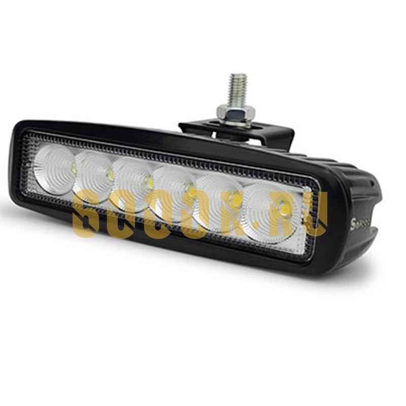 Тонкая LED фара 18 Ватт PRO ближнего света 6 диодов прямоугольная