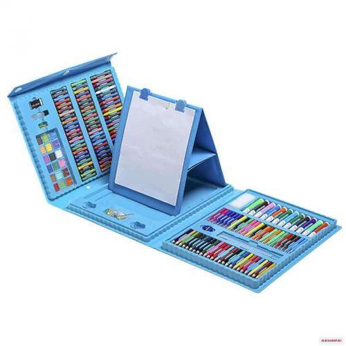 Набор для рисования 208 предметов с мольбертом (голубой) чемодан творчества