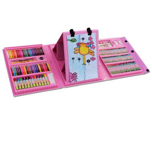 Набор для рисования 208 предметов с мольбертом ( Розовый) чемоданчик для творчества