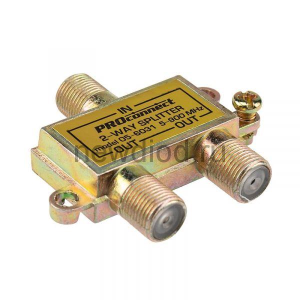 ДЕЛИТЕЛЬ  ТВ х 2 под F разъём  5-900 МГц  PROCONNECT