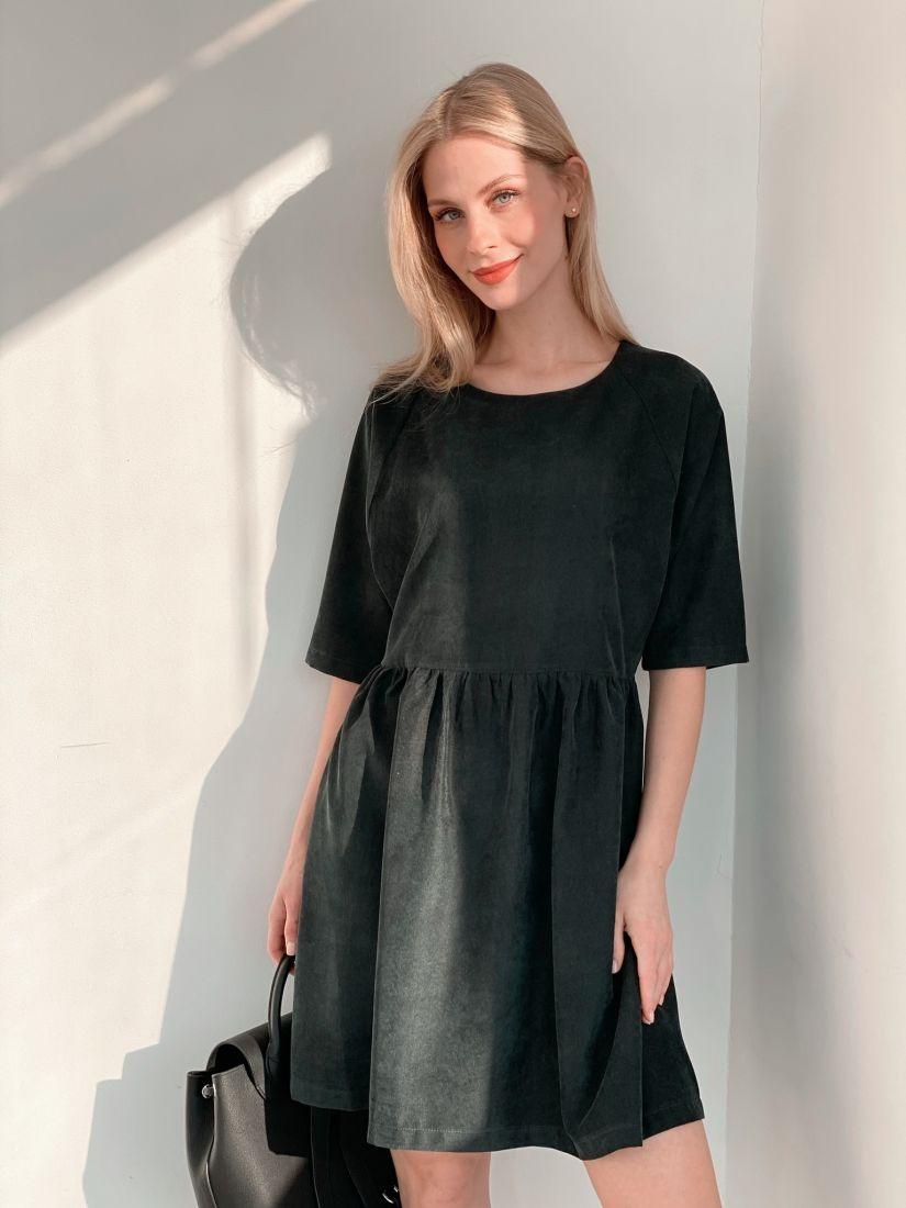 s3889 Платье вельветовое темно-зелёное